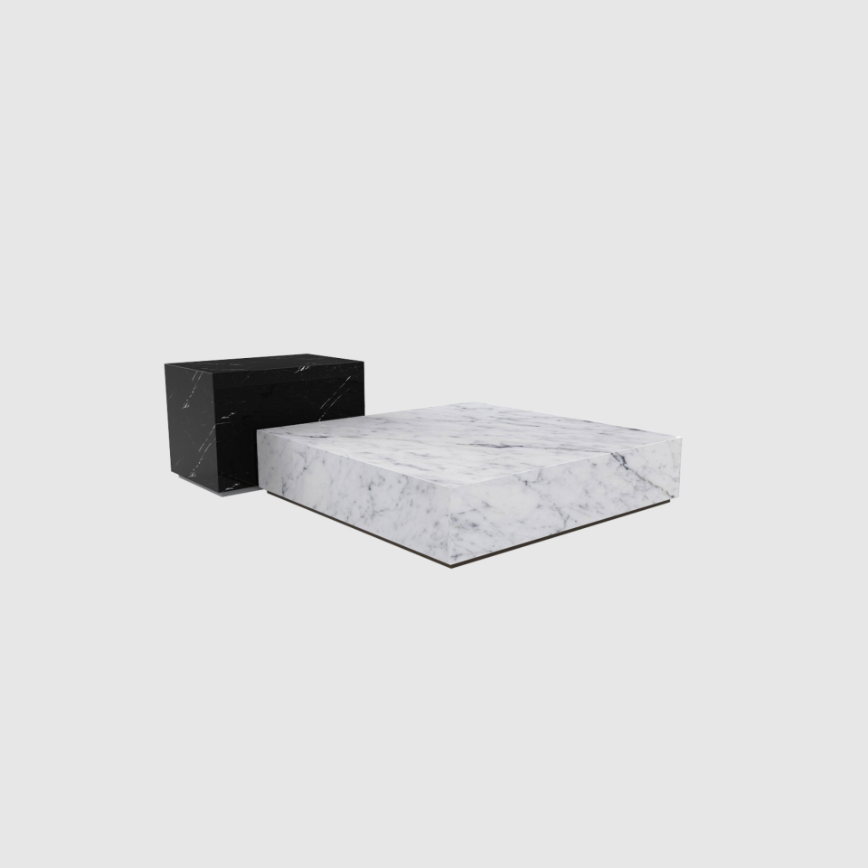 Edge set Carrara and Marquina marble coffee table by Maami Home