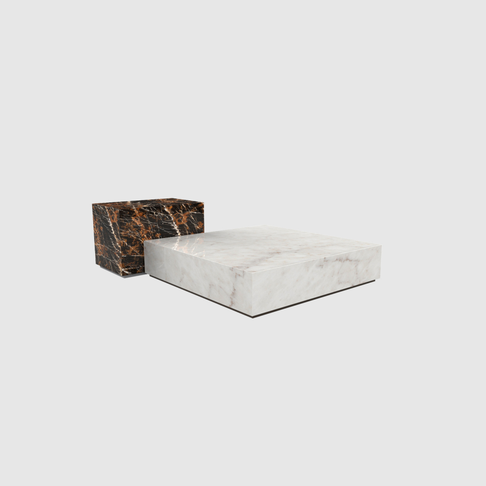 Edge set Estremoz and Black and Gold marble coffee table by Maami Home