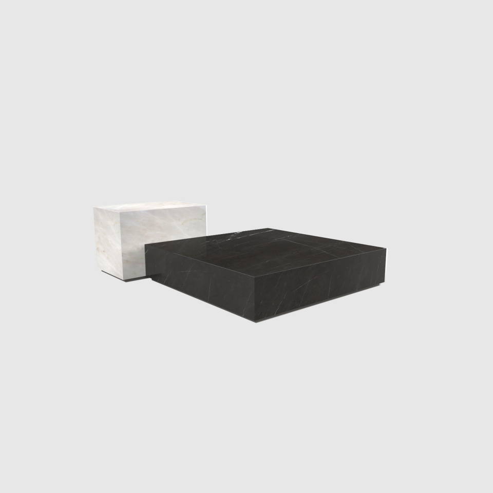 Edge set Estremoz and Grey Kendzo marble coffee table by Maami Home