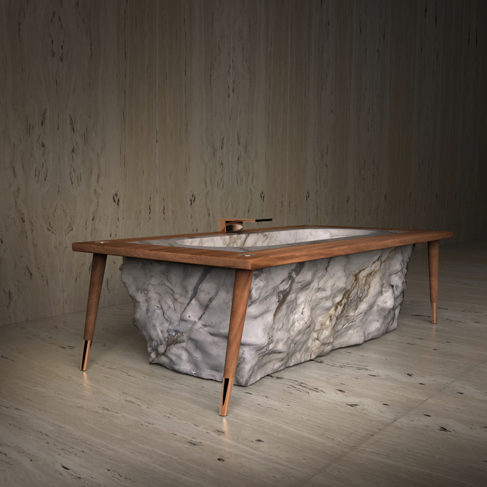 Pfeiffer bathtub carved in Calacatta marble block