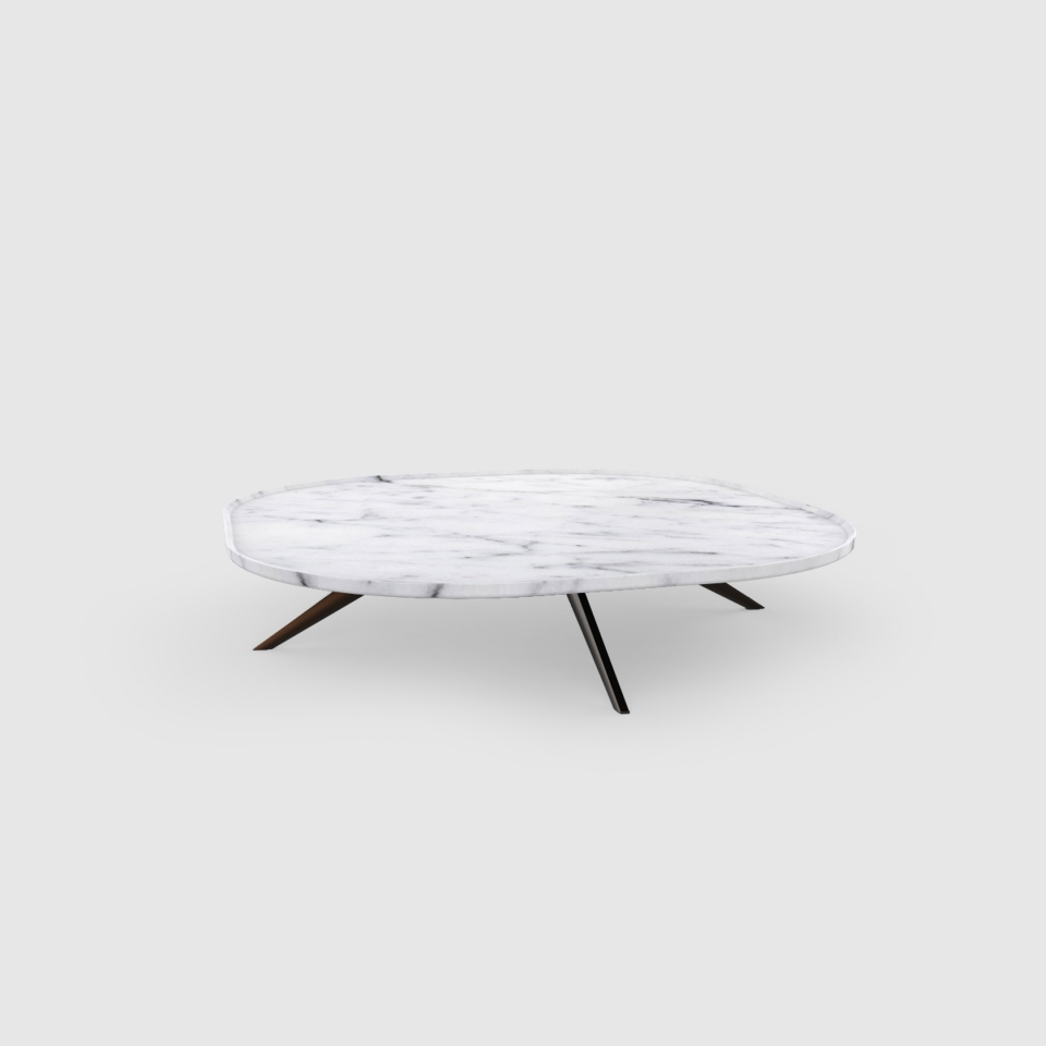 Plateia 800 Carrara marble coffee table by Maami Home