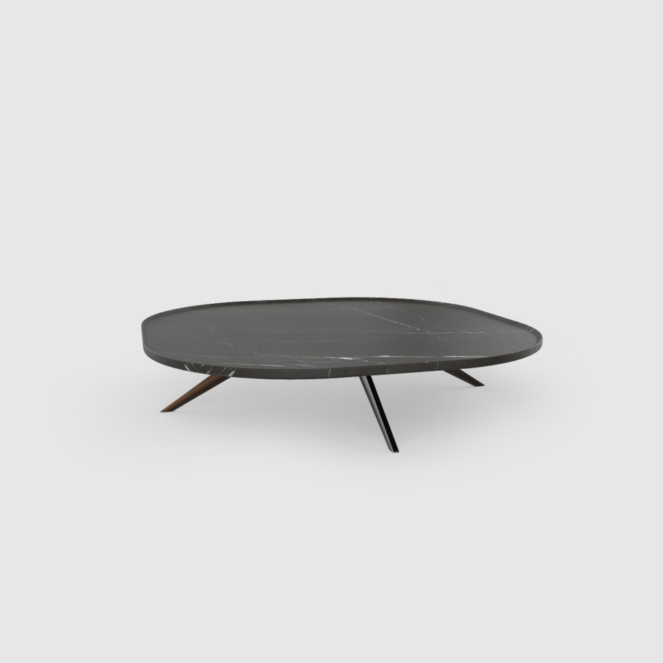 3Plateia 800 Grey Kendzo marble coffee table by Maami Home