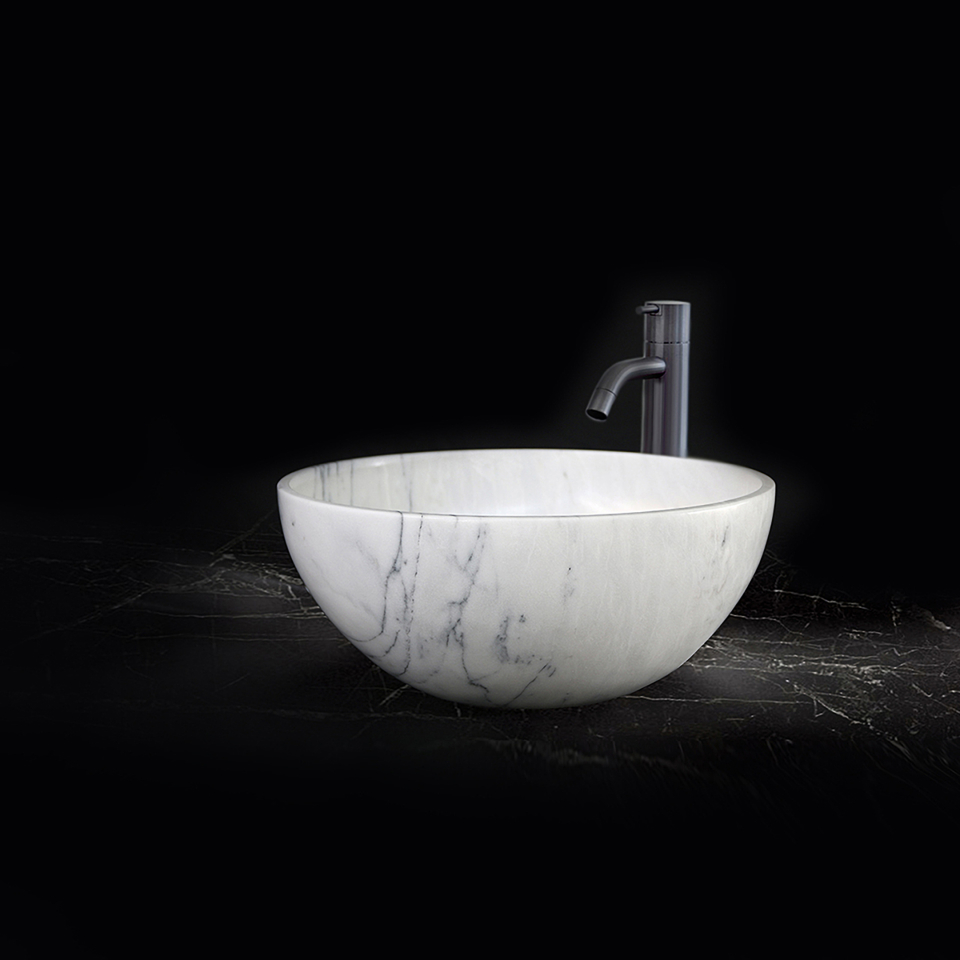 Tassa top mount sink in Estremoz marble