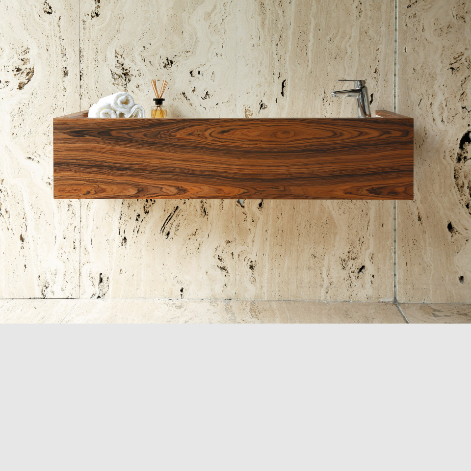 Navagioa washbasin by Maami Home / Travertine marble and walnut veneer