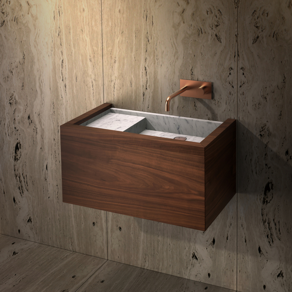Palawan washbasin by Maami Home / Carrara marble and walnut veneer