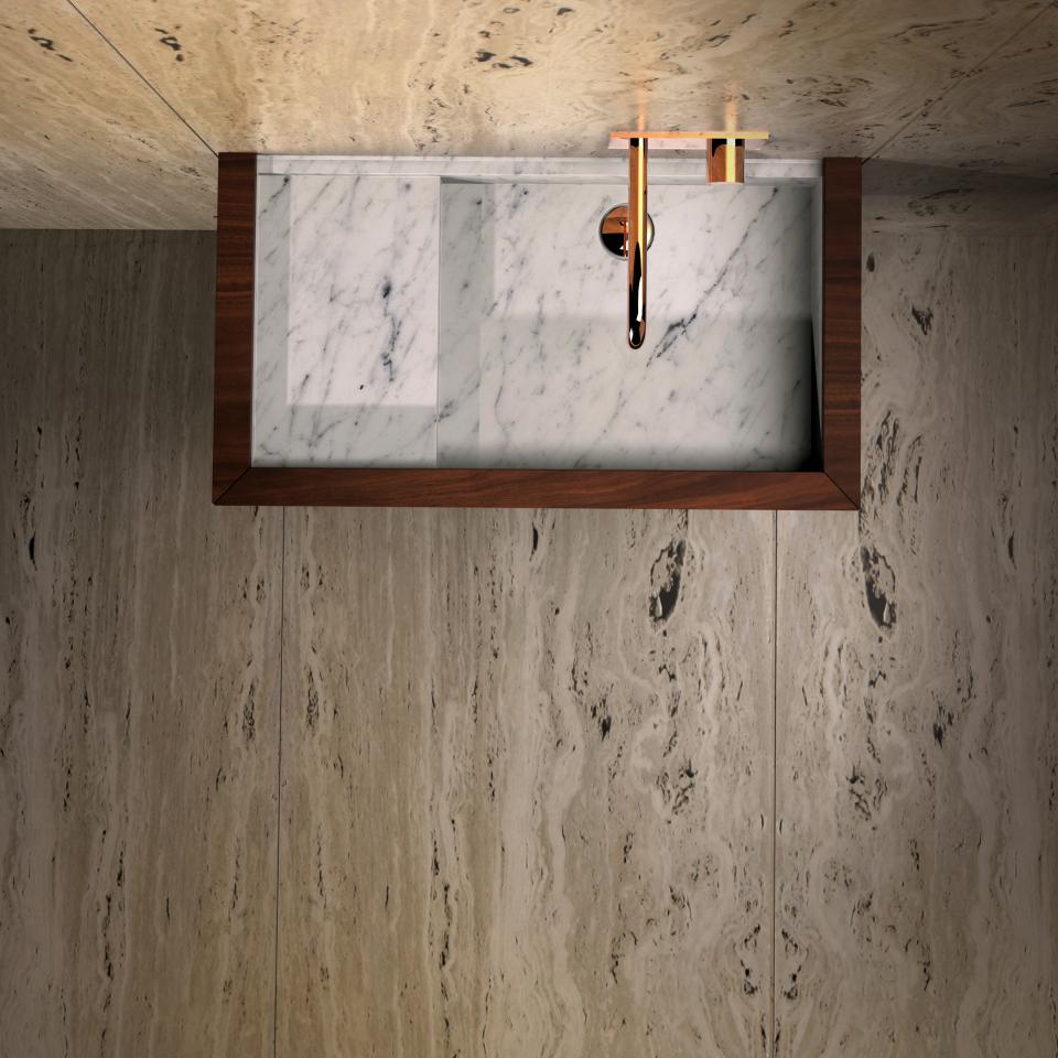 Palawan washbasin by Maami Home / Carrara marble and walnut veneer